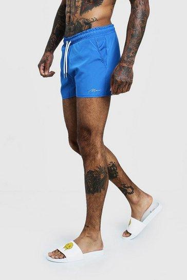 Royal blue MAN Signature Swim Short In Short Length