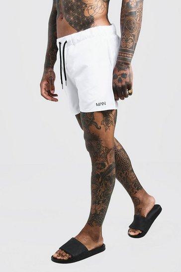 White Original MAN Mid Length Swim Short