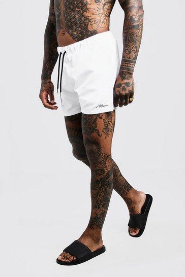 White MAN Signature Mid Length Swim Short