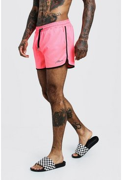 Neon-pink pink MAN Signature Runner Swim Short