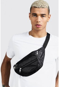 Black Nylon Front Pocket Fanny Pack