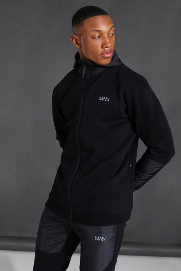 Black Man Active Matte Panel Zip Through Hoodie