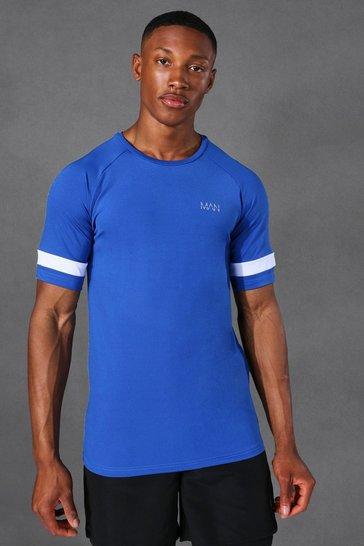 Cobalt blue Man Active Raglan Contrast Stripe T Shirt