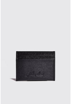 Black Real Leather Saffiano Card Holder