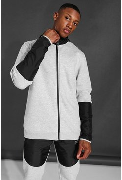 Man Active Matte Panel Zip Through Hoodie, Grey marl grigio