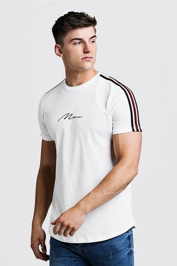 Ecru white MAN Signature Curved Hem T-Shirt With Tape Detail