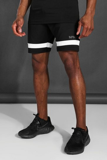 Black Man Active Contrast Stripe Shorts