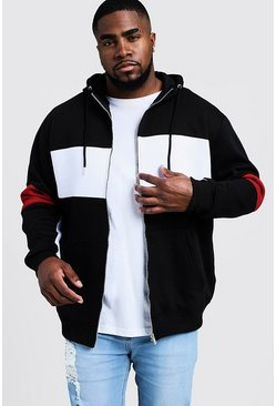 Black Plus Size Colour Block Zip Through Hoodie