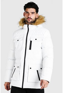 White Multi Pocket Quilted Parka With Faux Fur Hood
