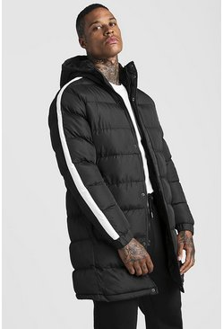 Black Longline Puffer With Arm Stripe