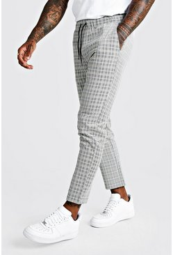 Black Skinny Summer Windowpane Check Smart Jogger Trouser
