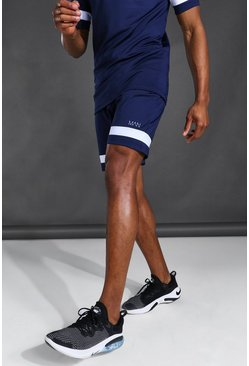 Navy Man Active Contrast Stripe Shorts