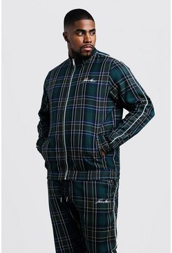 Forest green Big & Tall MAN Smart Tartan Track Top