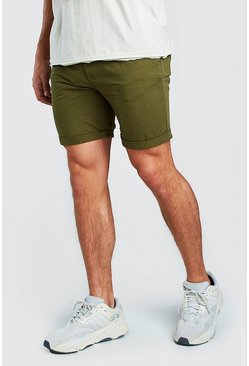 Khaki Skinny Fit Chino Short In Mid Length