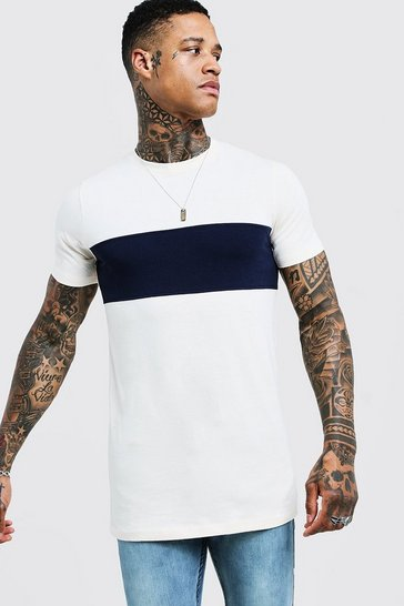 Navy Muscle Fit Longline Colour Block Tee