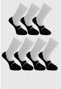 Black MAN Signature 7 Pack Invisible Socks