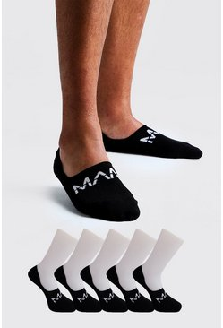 Black MAN Dash 5 Pack Invisible Socks