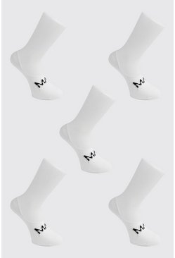 White MAN Dash 5 Pack Invisible Socks