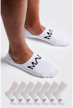 Lot de 7 paires de chaussettes invisibles MAN Dash, Blanc