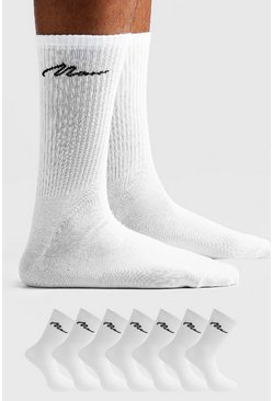 White MAN Signature 7 Pack Sport Socks