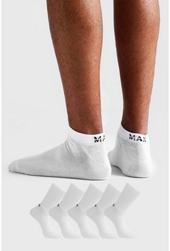 White MAN Dash 5 Pack Trainers Socks