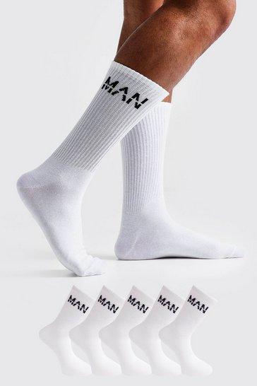 White MAN Dash 5 Pack Sport Socks