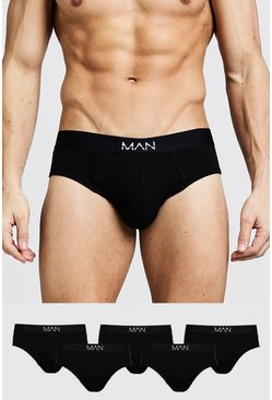 Black 5 Pack MAN Dash Briefs