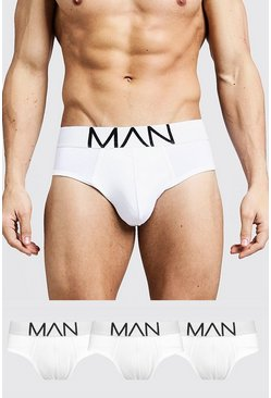 White 3 Pack MAN Logo Briefs