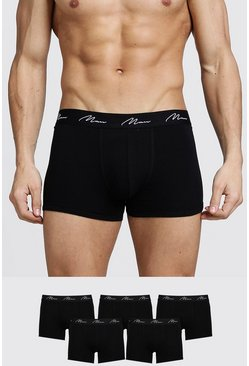 Black 5 Pack MAN Signature Trunks