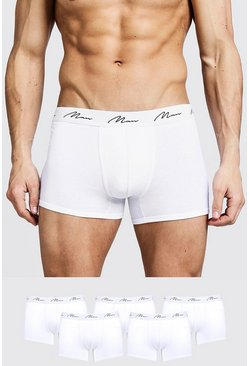 Wit white Man Signature Middellange Boxers (5 Stuks)