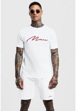 White 3D MAN Embroidered T-Shirt & Short Set
