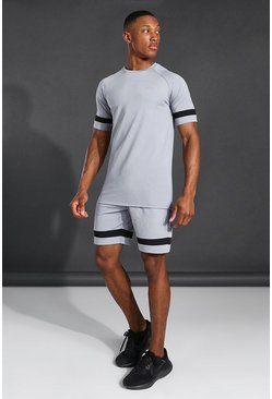 Grey Man Active Raglan Contrast Stripe Short Set