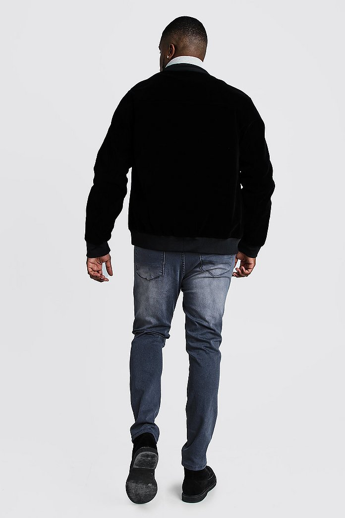 Big & Tall Velour Bomber Jacket | boohoo