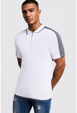 White vit Muscle Fit Zip Through Polo With Checked Shoulder
