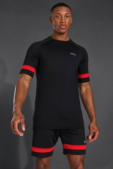 Black Man Active Raglan Contrast Stripe Short Set