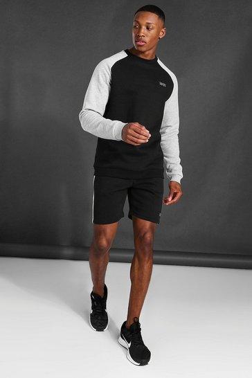 Black Man Active Colour Block Sweatshirt Short Set