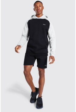 Sweat à capuche et short color block - MAN Active, Black noir