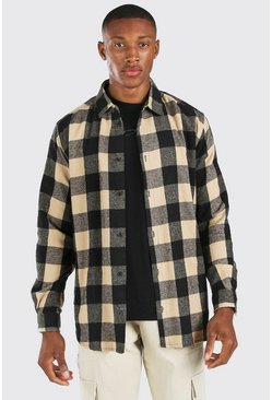 Oversized Long Sleeve Camel Flannel Shirt