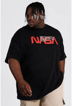 Black Plus Size Nasa Text License T-shirt