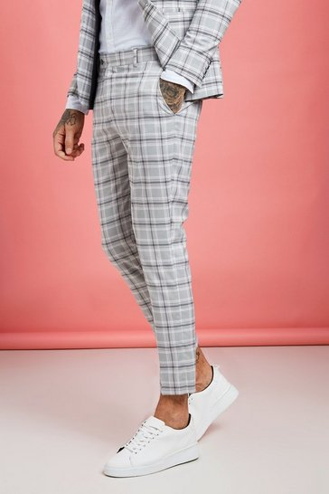 Grey Pastel Check Detail Skinny Cropped Trousers