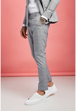 Pantalon fuselé à carreaux Jaspe Windowpane, Gris