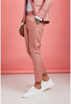 Pink Plain Skinny Fit Cropped Trouser
