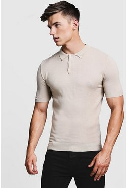 Stone beige Regular Short Sleeve Knitted Polo