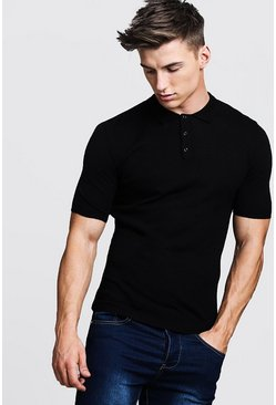Black Regular Short Sleeve Knitted Polo