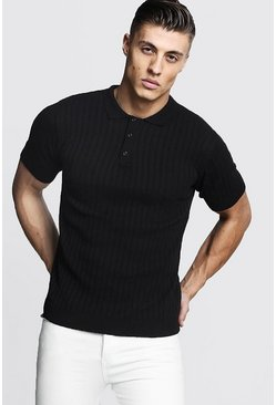 Black svart Muscle Fit Ribbed Knitted Polo