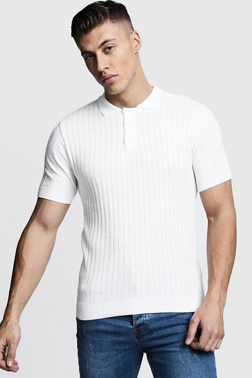 Ivory white Muscle Fit Ribbed Knitted Polo