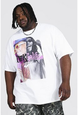 White Plus Size Wiz Khalifa Spliced License T-shirt