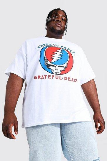 White Plus Size Grateful Dead Skull License T-shirt