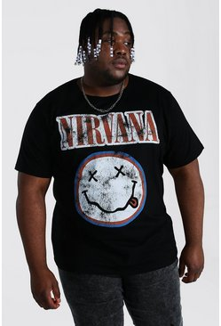 Black Plus Size Nirvana Face License T-shirt