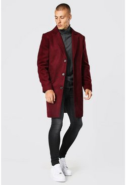 Burgundy red Single Breasted Wool Mix Overcoat